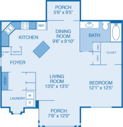 Carriage Floor Plan at Walden Legacy Apartments, Knoxville, Tennessee