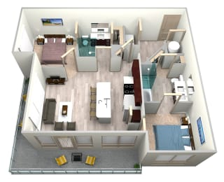 Indigo Floor Plan at Azure Houston Apartments, Houston, Texas, opens a dialog