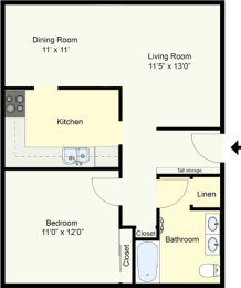 Floor Plan AUSTIN – ONE BEDROOM ONE BATH