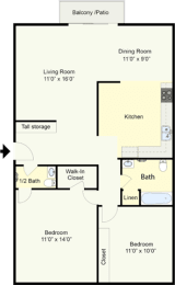 Floor Plan BRYANT - 2 BEDROOM 1.5 BATH