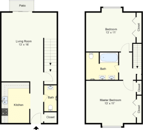 Floor Plan MERIDIAN - TWO BEDROOM TOWNHOUSE