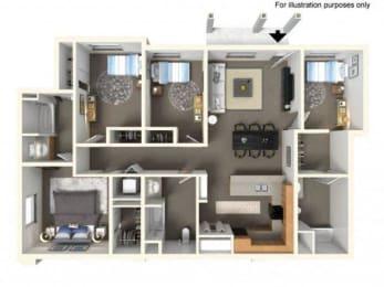 Floorplan at The Villas in Bellevue Apartments, 595 156th Avenue SE, Bellevue, WA