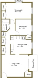 Floor Plan 2 Bedrooms 1 Bath, opens a dialog