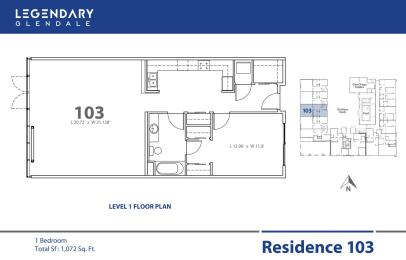 Floor Plan 103 in Legendary Glendale Luxury Apartment Community, 91203, opens a dialog