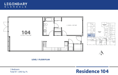 Floor Plan 104 at Legendary Glendale Apartments, Luxury Apts in Glendale, California