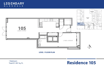 Floor Plan 105 in Legendary Glendale, Modern Apartments in Glendale, 300 N Central Ave, opens a dialog