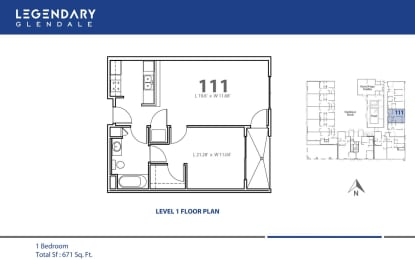 Floor Plan 111 at Legendary Glendale Modern Apartments, in Glendale, CA, opens a dialog