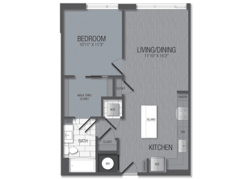M.1B1 Floor Plan at TENmflats, Maryland, 21044
