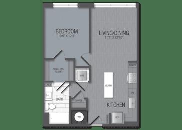 M.1B7B Floor Plan at TENmflats, Columbia, 21044