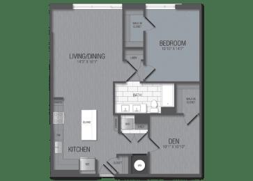 M.12b2/den Floor Plan at TENmflats, Columbia, MD, 21044