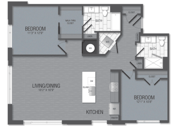 M.2C2 Floor Plan at TENmflats, Columbia, MD, 21044