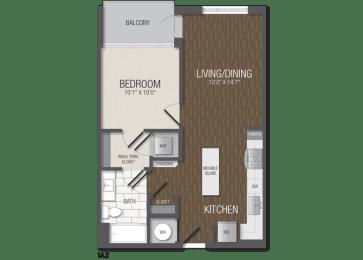 T.1A2 Floor Plan at TENmflats, Columbia, 21044