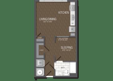 T.1A Floor Plan at TENmflats, Columbia, MD