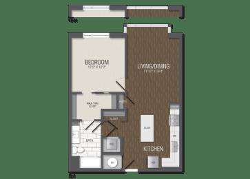T.1B3 Floor Plan at TENmflats, Maryland, 21044