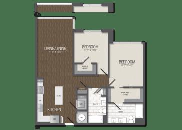 T.2B2 Floor Plan at TENmflats, Columbia, MD