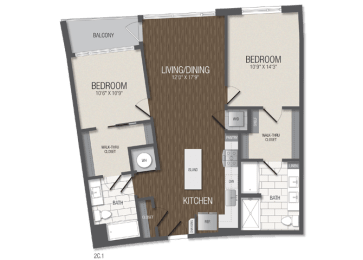 T.2C1 Floor Plan at TENmflats, Columbia, Maryland