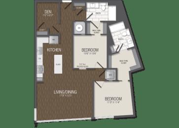 T.2F/den Floor Plan at TENmflats, Maryland, 21044