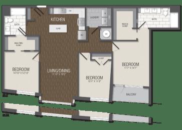T.3B2 Floor Plan at TENmflats, Columbia
