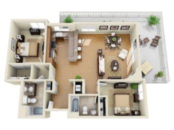 The Rodeo Plus Loft 2 Bedroom 2 Bath 3D Floor Plan at The Verandas, California, 91304