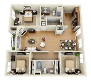 The Sunset Plus Loft 3 Bedroom 2 Bath 3D Floor Plan at The Verandas, Canoga Park, California