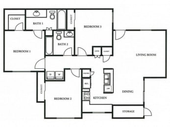 Floorplan at The Colony Apartments, Casa Grande, Arizona