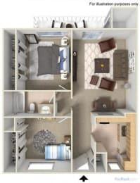 Floorplan at Fountain Plaza Apartments, Tucson, AZ
