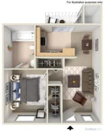 Floorplan at Fountain Plaza Apartments, AZ, 85712