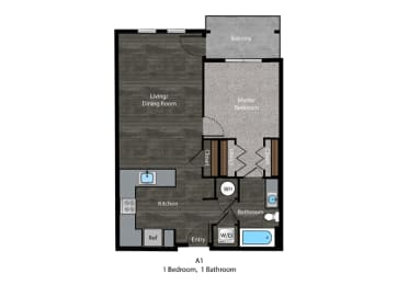 Patterson-1 Bed Floor Plan at The Edition, Hyattsville, 20782, opens a dialog