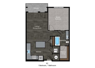 Bronte-1 Bed Floor Plan at The Edition, Hyattsville, Maryland, opens a dialog