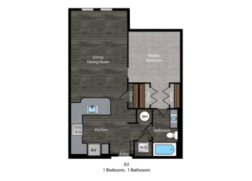 Hemingway-1 Bed Floor Plan at The Edition, Hyattsville, opens a dialog