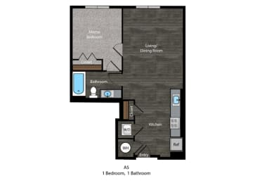 Dickens-1 Bed Floor Plan at The Edition, Maryland, 20782, opens a dialog