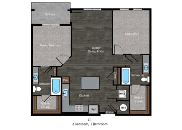 Twain- 2 Bed Floor Plan at The Edition, Hyattsville, MD, 20782, opens a dialog