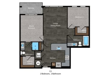 Christie-2 Bed Floor Plan at The Edition, Hyattsville, MD, opens a dialog