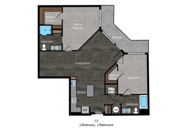 Fitzgerald-2 Bed Floor Plan at The Edition, Hyattsville, 20782, opens a dialog