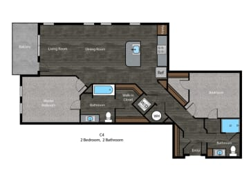 Tolstoy-2 Bed Floor Plan at The Edition, Hyattsville, Maryland, opens a dialog