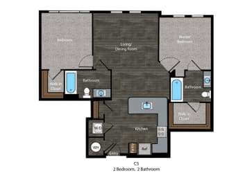 Angelou-2 Bed Floor Plan at The Edition, Hyattsville, opens a dialog