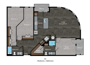 Bell-3 Bed Floor Plan at The Edition, Hyattsville, MD, 20782, opens a dialog