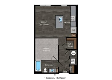 Faulkner-1Bed Layout at The Edition Apartments, Hyattsville, 20782, opens a dialog
