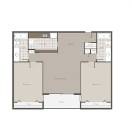Kalahari 2BR/BH Floor plan at Desert Creek, New Mexico, 87107