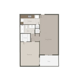 Mojave 1BR/1BH Floor plan at Desert Creek, Albuquerque, NM 87107
