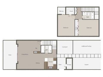 Sonoma 2BR/2BH Floor plan at Desert Creek, Albuquerque