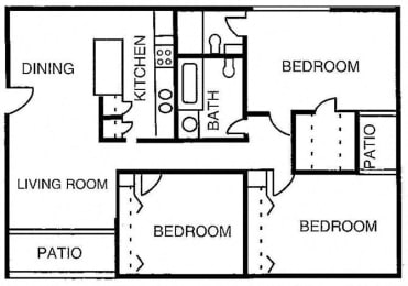 Arabian 2BR Floor plan for Desert Creek, Albuquerque, NM