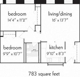 Floor Plan 2 Bedroom and 1 bath