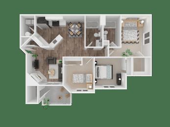 Floor Plan Three Bed, Two Bath - Renovated - 1139 SqFt