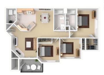 Three Bedroom Floor Plan  Apartment For Rent in Gresham OR 97080 l The Arden