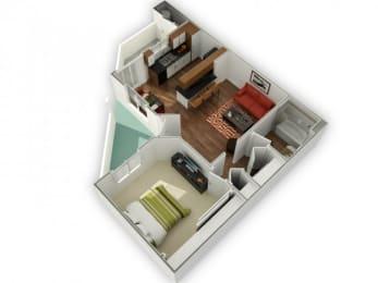 1 Bed 1 Bath Cobalt Floor plan, at The Bristol at Sunset, Henderson, 89014