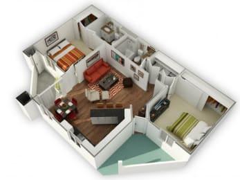 2 Bed 2 Bath Indigo Floor plan, at The Bristol at Sunset, Henderson, NV