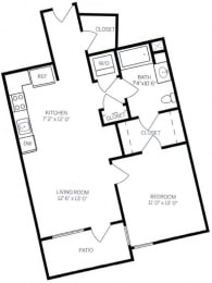 WalA7 Floor Plan at AVE Walnut Creek, Walnut Creek, CA