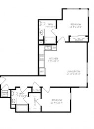 Floor Plans B2 at AVE Walnut Creek, California, 94596
