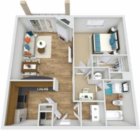 Floor Plan A2 at Rose Heights apartment Raleigh, NC